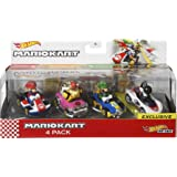 Hot Wheels Mario Kart Characters and Karts as Die-Cast Toy Cars 4-Pack [Amazon Exclusive]