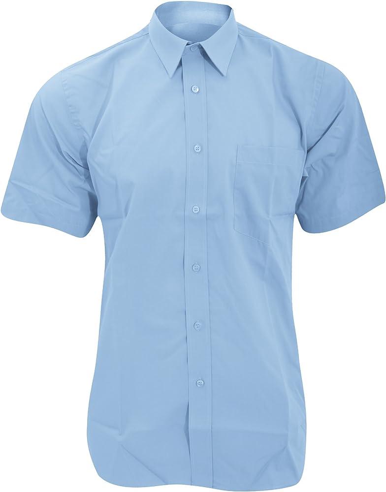 Fruit of the Loom - Camisa de Manga Corta Modelo Poplin para Hombre Caballero - Fiesta/Trabajo/Eventos (Pequeña (S)) (Azul Medio): Amazon.es: Ropa y accesorios