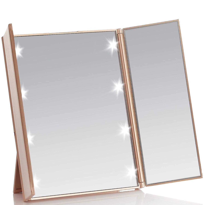 illuminato specchietto triplo da trucco compatto e da viaggio pieghevole Miss Sweet