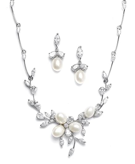 Amazon Com Mariell Genuine Freshwater Pearl Cz Marquis Necklace