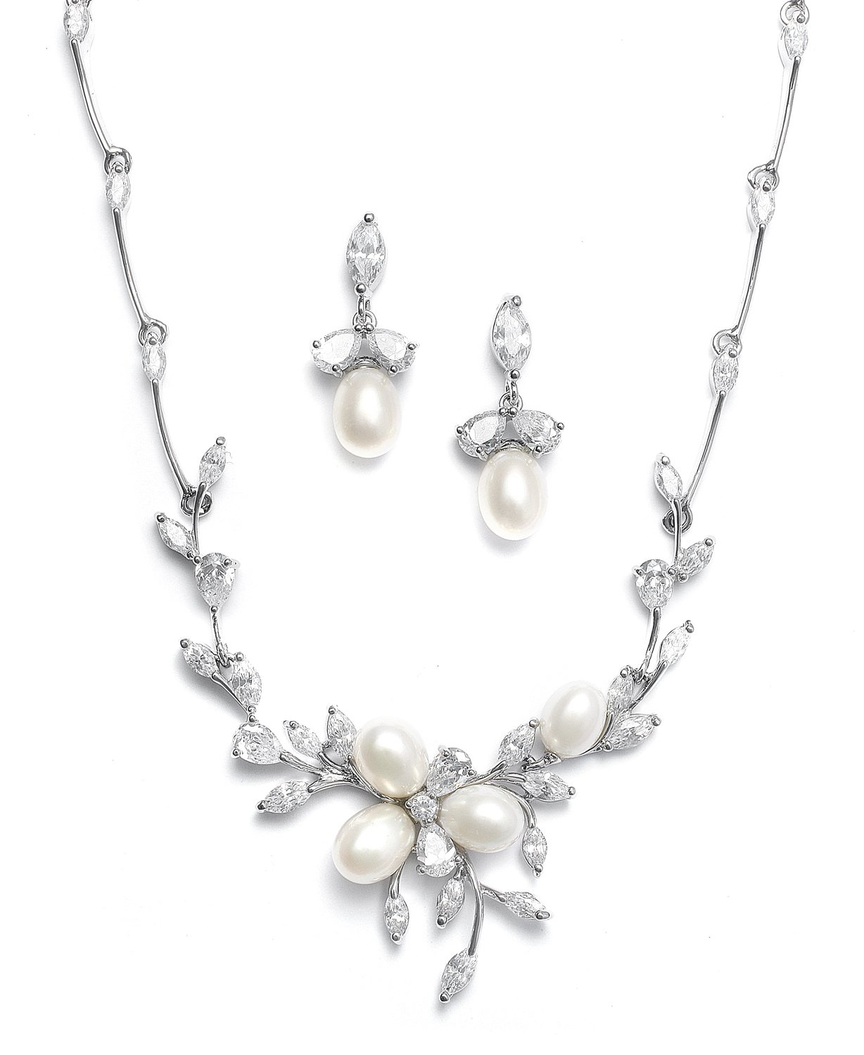 Mariell Genuine Freshwater Pearl & CZ Marquis Necklace Earrings Set Luxury Bridal Jewelry