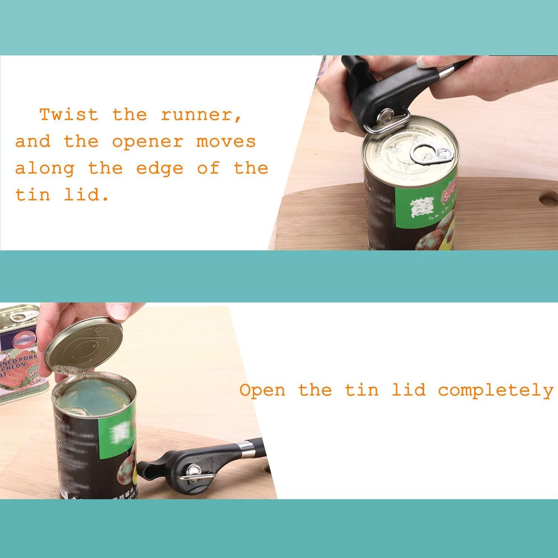 corte suave sin necesidad de usar las manos abrelatas superior Abridor de latas HINATAA abridor de latas integrado mango de ABS mate