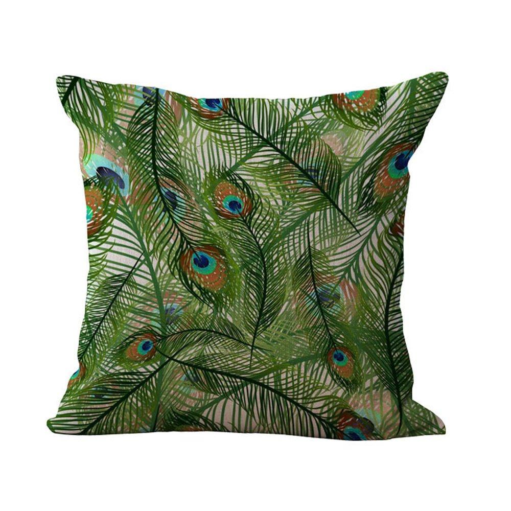 Hengjiang Bird Peacock Pillow Cases Square Cushion Cover Throw Home Sofa Pillow Case Linen Cotton Decorative Pillow (01)