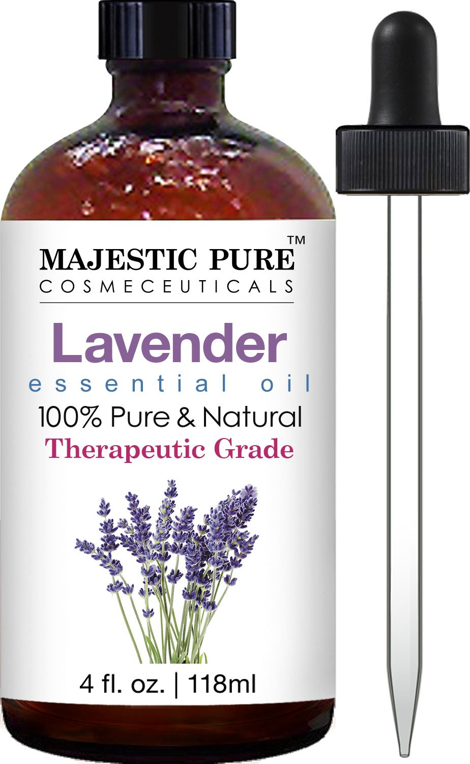 Majestic Pure Lavender Oil, 100% Pure and Natural with Therapeutic Grade, Premium Quality Blend of Lavender Oil, 4 fl. Oz