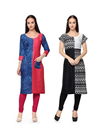 NEW PHASE Combo Of 2 Two Cotton Fabric Printed Stitched Straight Fit Kurti Kurta In