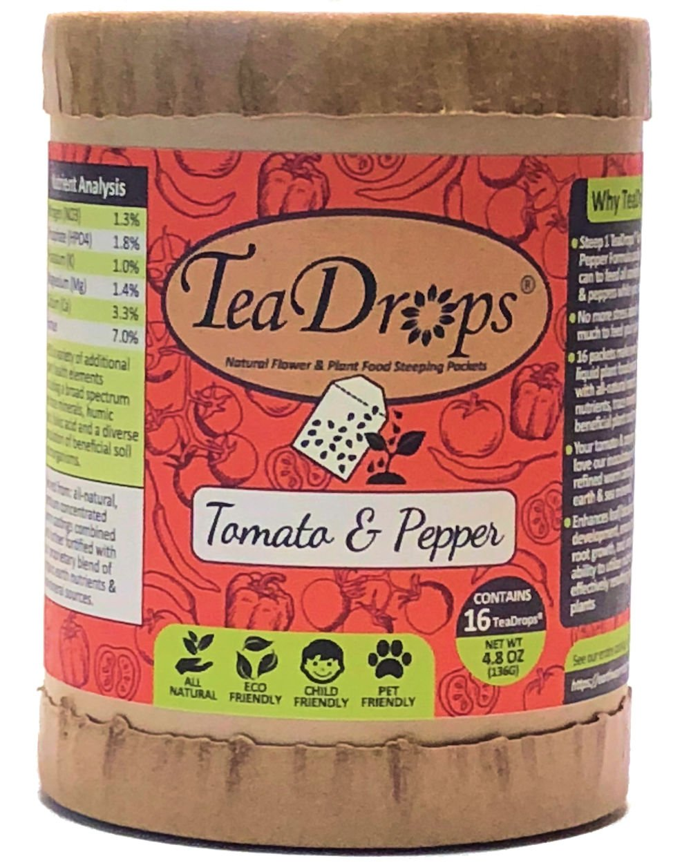 TeaDrops Premium Tomato + Pepper Organic Vegetable Fertilizer (16 Packets, Makes Indoor & Outdoor Liquid Garden Plant Food for Healthy Leaf & Root Growth/Maximizing Flower Production) by Earthworm Technologies