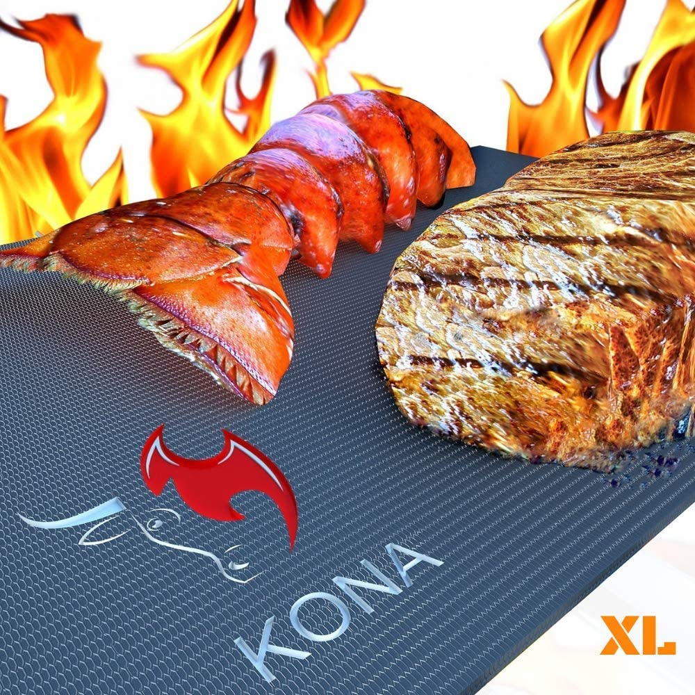 "Kona XL Best Grill Mat - BBQ Grill Mat Covers The Entire Grill - Premium Non-Stick 25""x17"" : Garden & Outdoor"