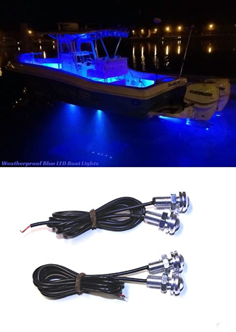 Kayak Accessories Led 4x Blue Led Boat Light Kit Waterproof 12v Deck Storage Kayak Bow Trailer Bass
