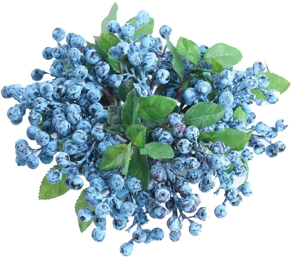 Skyseen 50 Pcs Fake Fruit Blueberries Simulation Artificial Lifelike Blueberry for Home Kitchen Party Wedding Decoration Photography