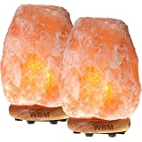 WBM 1002B Himalayan Glow large Salt lamp night light .ETL Certified himalayan pink salt lamp with Neem Wood Base /salt lamp light bulbs and Dimmer Control, Crystal, 7- 10-Inch, 8 - 11 LBS-2-Pack