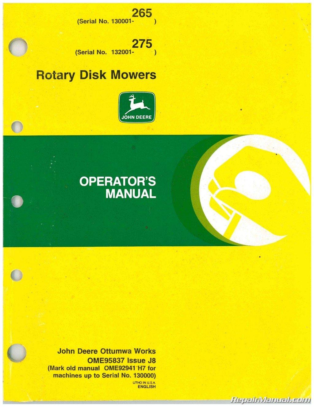 ... Array - ome95837 john deere 265 275 rotary disk mowers operators manual  rh amazon com