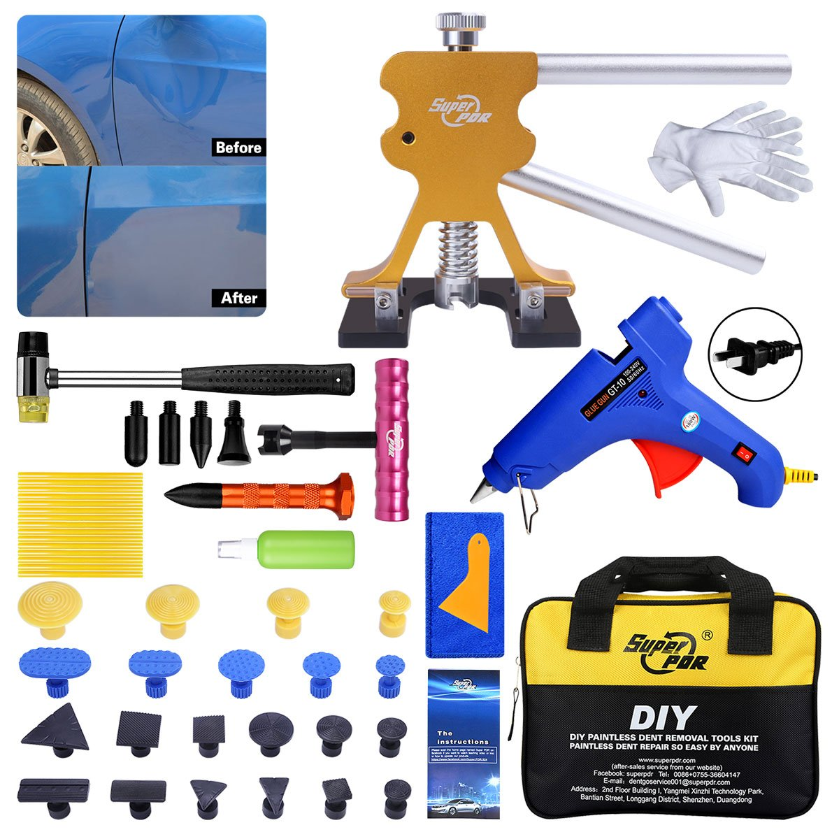 FLY5D Car dent repair kit 47pcs auto/car body hail removal bag kit Dent Puller For Car Hail Damage And Door Dings Repair