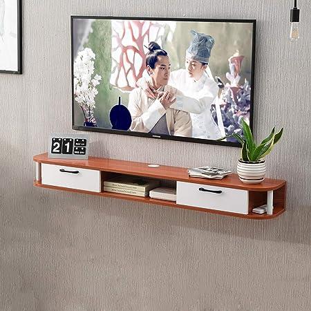 Porta Mensole In Legno.Mobile Porta Tv Sospeso In Legno Massello Console Tv Supporto Tv