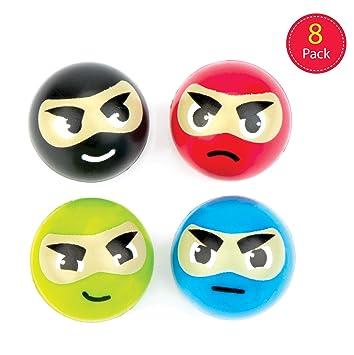 Baker Ross- Pelotas de Goma con diseños Ninja (Pack de 8 ...