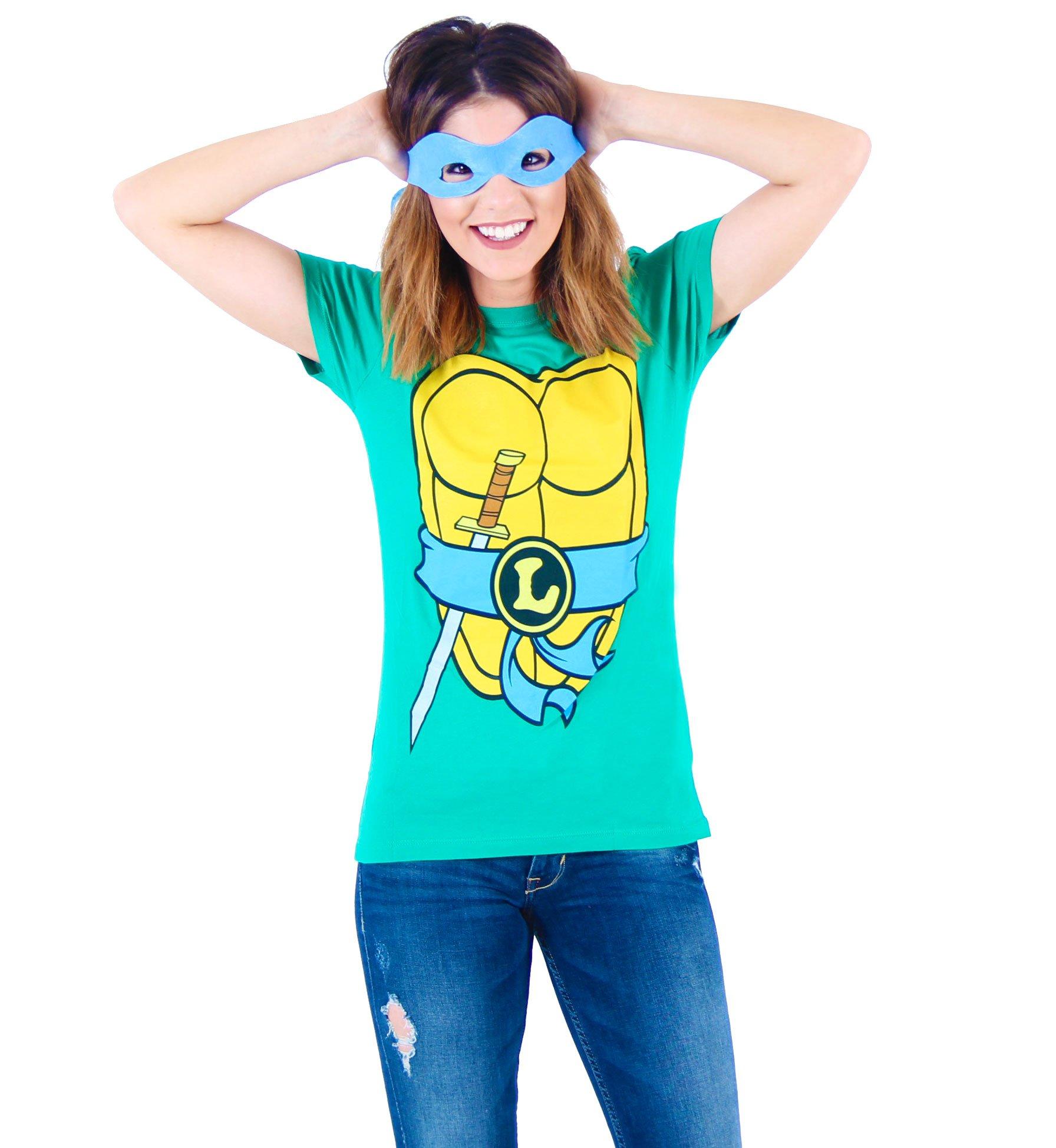 Mighty Fine TMNT Teenage Mutant Ninja Turtles Leonardo Costume Green Juniors T-shirt Tee (Medium)