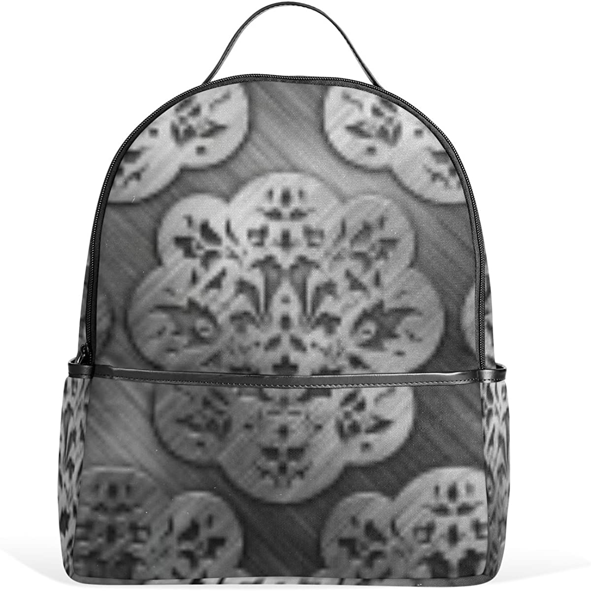 Mr.Weng Metallic Pattern Steel Printed Canvas Backpack For Girl and Children