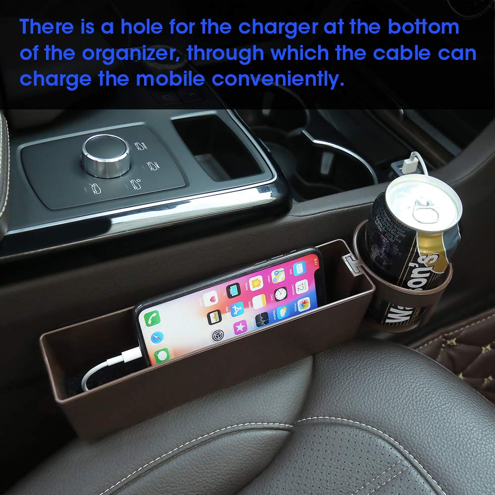 JIAKANUO Auto Car Seat Side Gap Catcher,Console Pocket Organizer,Car Seat Gap Filler Card Cup Holder Easy Mount Black JKNSS55