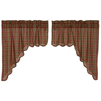 VHC Brands Graham Scalloped Swag Lined Set of 2 36x36x16