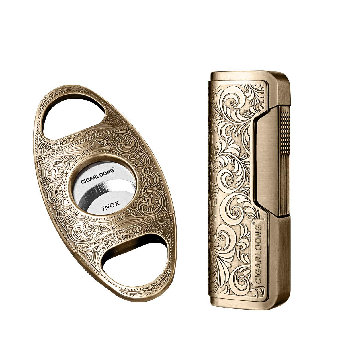 Cigar Cutter and Lighter Set Sharpening Blade Engraved Cigar Guillotine and Retro Carved Lighter(Color:Gold)