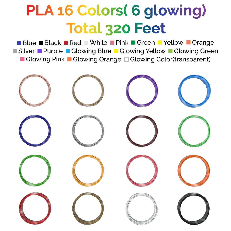 PVC Drawing Board Not Fit 3Doodler 16 Colors, 320 Feet MagicBiu 3D Printer Printing Pen Filament Refill 1.75mm PLA Compatible for Dikale Tecboss Nulaxy etc Finger Caps Bonus 8 Drawing Stencils