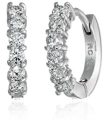 57279d8fe Roberto Coin Perfect Diamond 18k White Gold Huggy Hoop Earrings (5/8cttw,  G-H