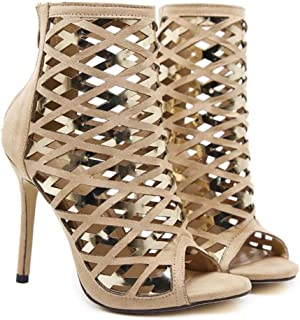 Femmes Cool Bottes 11 cm Stiletto Peep Toe Creux Robe Chaussures Beau Couleur Match Zipper Cour Chaussures Parti Roma Chaussures Eu Taille 34-40