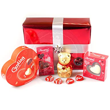 Luxury Chocolate Valentine's Gift Box – Guylian, Thorntons and Lindt Chocolates -By Moreton Gifts