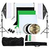 OUBO Estudio Fotográfico Kit Completo Estudio de la Iluminación Contínua Softbox 2*135W bombilla con 4 x fondos (2 x Blanco Verde Negro)+2 x trípode Soporte del fondo + 2 x Softbox + 60cm 5 x Pantallas reflectoras