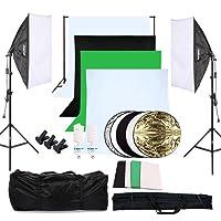 OUBO Kit di Illuminazione Fotografica Continua Fotografia Softbox Studio Fotografico Kit luci + 4x panno sfondo +2x 50x70cm Softbox + 2x Luce Supporto + 2x Cornice di Sfondo Regolabile + Lampadina + 5in1 60cm riflettore