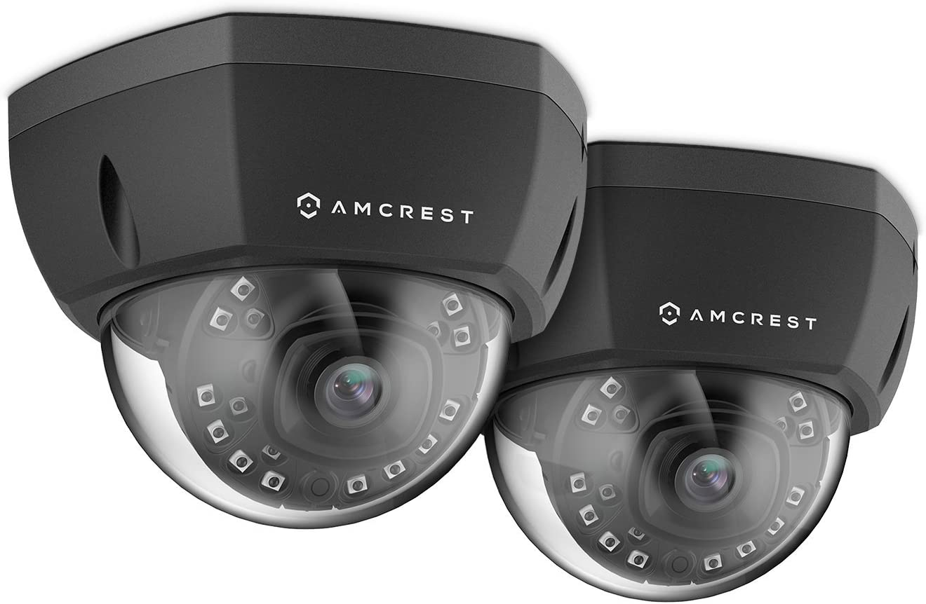 2-Pack Amcrest ProHD Outdoor 1080P PoE Vandal Dome IP Security Camera – IP67 Weatherproof, 2MP 1920 TVL , IP2M-851EB Black