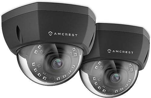2-Pack Amcrest ProHD Outdoor 1080P PoE Vandal Dome IP Security Camera – IP67 Weatherproof, 2MP 1920 TVL , IP2M-851EB Black