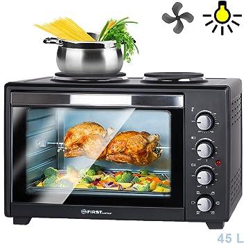 Mini horno eléctrico 45 l 3200 W con placas de cocción | multifunción | grill giratorio