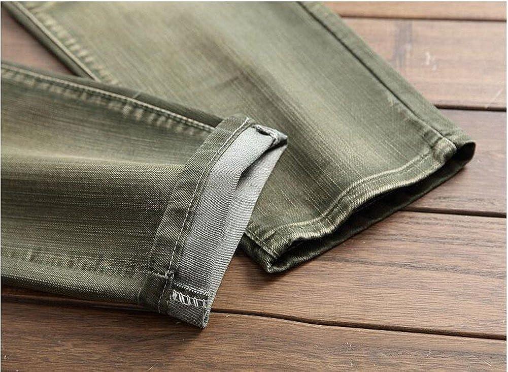 Jinmen Mens Denim Cotton Casual Frayed Washing Patch Multicolor Locomotive Jeans