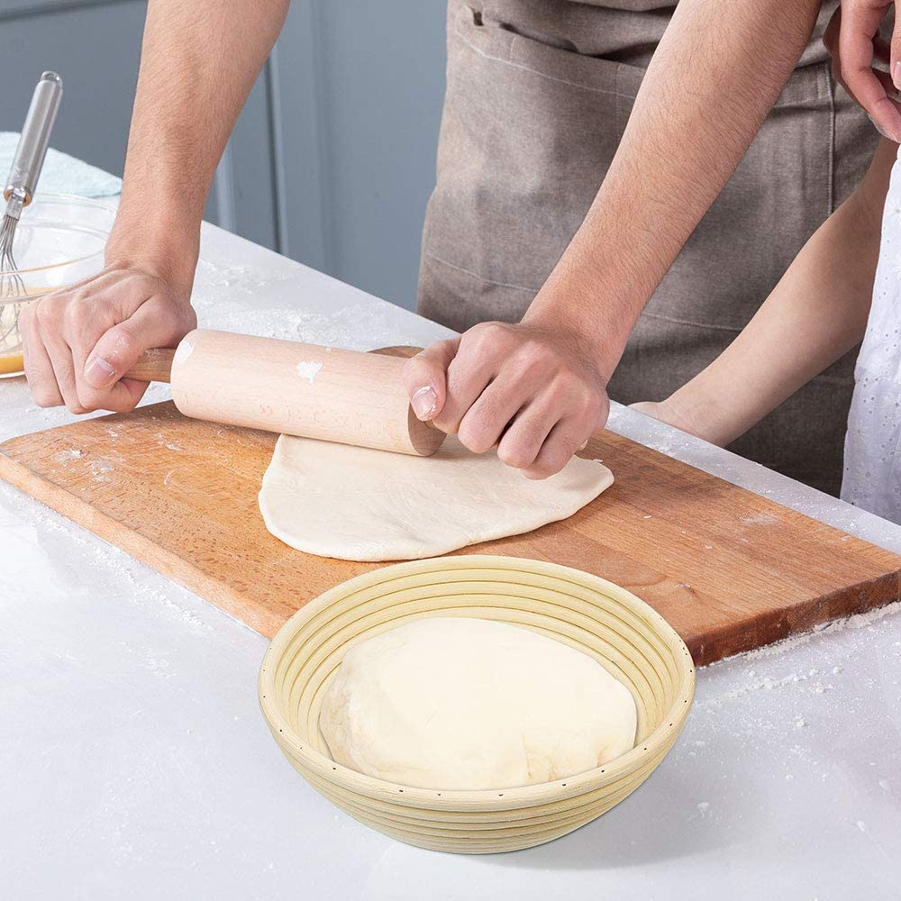 Size 22 * 8.5cm Free Lining Rising Rattan Bowl for Bread Homemade Kit ZesNice Round Banneton Proofing Bread Baskets Hold 500g Dough Bread Proving Baskets