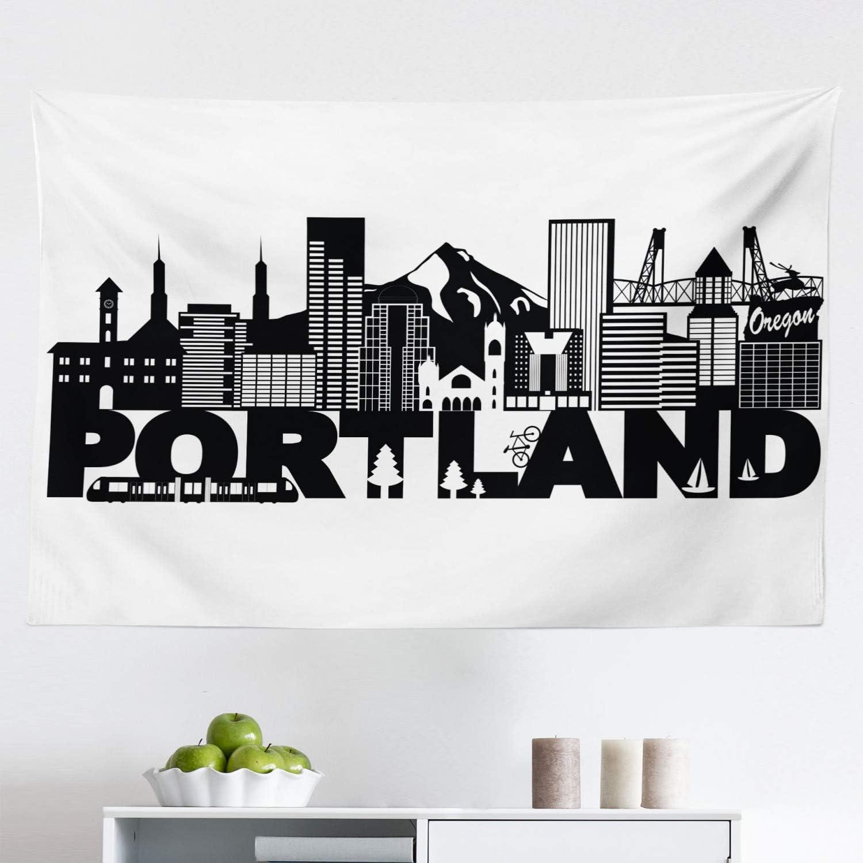 "Lunarable Portland Tapestry, Famous Landmarks in Oregon State Buildings Mount Hood and Hawthorne Bridge, Fabric Wall Hanging Decor for Bedroom Living Room Dorm, 45"" X 30"", White Black"