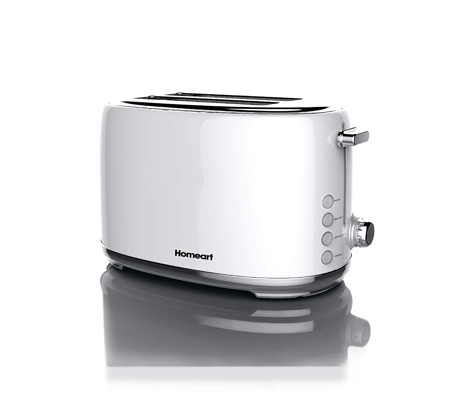 Artisan 2 Slot Toaster by Homeart   2019 Best Electric Toaster with Multi-Function Toaster Options   Vintage Toaster Stainless Steel (White)