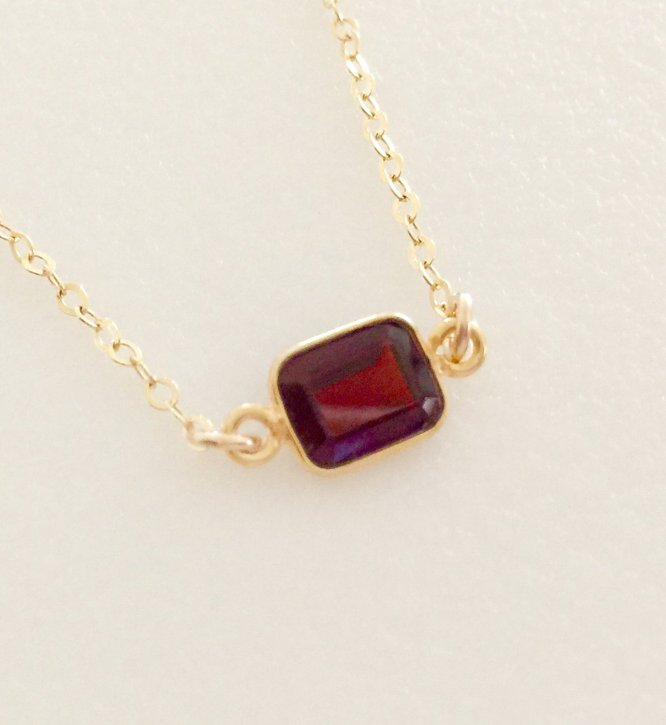 Nuit  Delicate garnet necklace  January birthstone  Dainty gemstone necklace  Garnet Birthstone Beaded necklace