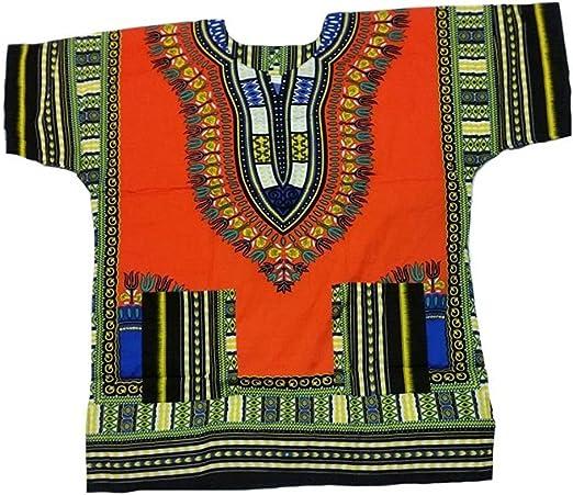 Homes & ----Deco Ropa de Manga Corta Dashiki Festival africano Hippie Poncho Tradicional Camisa mexicana Hombre Kaftan naranja Naranja: Amazon.es: Hogar