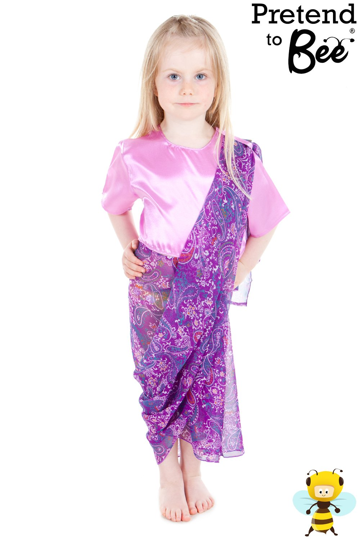 girls kids childrens indian lady sari fancy dress multicultural