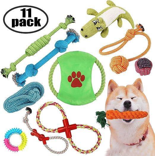 AONESY Juguetes para Masticar Perros 11 Pack Juguetes para Cachorros de Perro Indestructible Dientes de dentición Bola de Entrenamiento Cuerda y Masticar Juguetes chirriantes Regalos: Amazon.es: Productos para mascotas