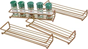 Asense 4 Pack Wall Mount Hanging Single Tier Spice Racks Organizers, Hanging Racks for Cabinet or Pantry Door, Under Cabinet, Metal, Bronze Gold Color
