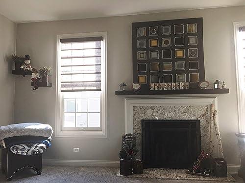 Joel s Antiques, Basic Black, 84 x 7 Deep x 3 Thick, Rustic Floating Mantel Shelf, USA Handmade, Ebony Matte Clear Coat Finish, Patented Hidden Floating Shelf Bracket