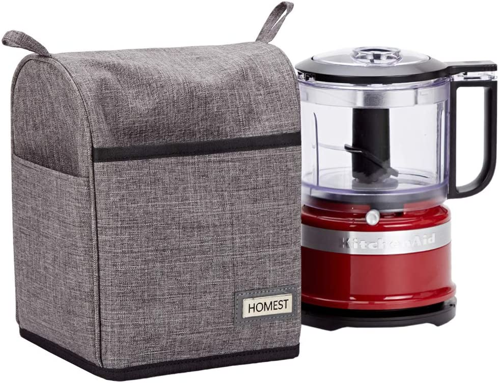 HOMEST Food Processor Dust Cover with Accessory Pockets Compatible with KitchenAid 3-5 Cup, Grey (Dust Cover Only, Patent Pending)
