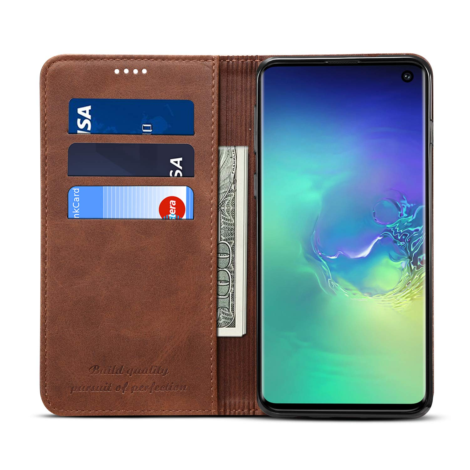 Samsung S10 Screen Protector,taStone Premium PU Leather Wallet Case with Kickstand Flip Cover Stylish Slim Shock-Proof Protective Case with Viewing Stand and Card Slots for Samsung S10,Dark Brown