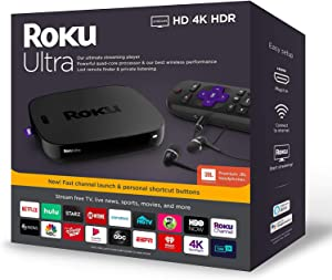 Newest Roku Ultra Streaming Media Player 4K/HD/HDR Bundle - Enhanced Voice Remote W/TV Controls and Shortcuts - Premium JBL Headphones - HDMI, Ethernet, and Micro SD Ports - iPuzzle HDMI Cable 5ft