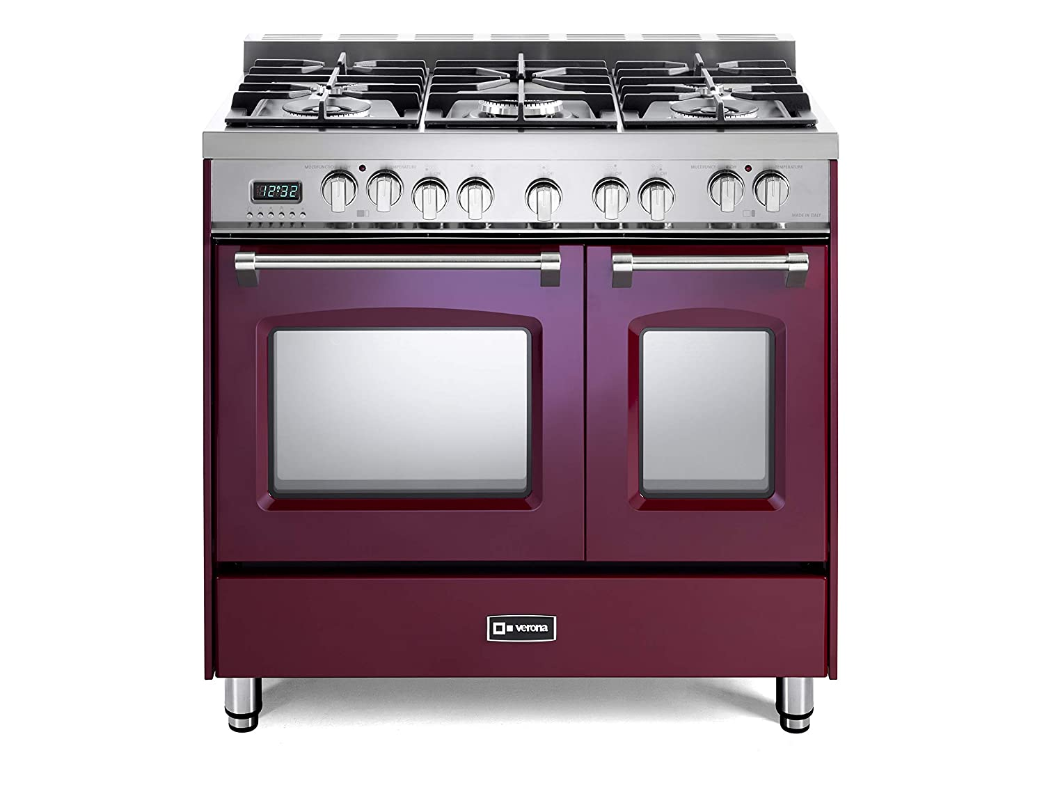 Verona Prestige VPFSGE365DBU 36 inch. Dual Fuel Range 5 Sealed Burners Double Oven Convection Storage Drawer Burgundy
