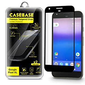 Google Pixel XL Screen Protector - CaseBase Premium Tempered Glass Screen Protector TWIN PACK for Google Pixel XL (Model Smartphone 2016) - 2 in 1