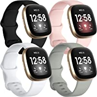 Getino 4 Pack Bands Compatible with Fitbit Sense and Fitbit Versa 3, Soft Waterproof and Durable Silicone Sport Strap…