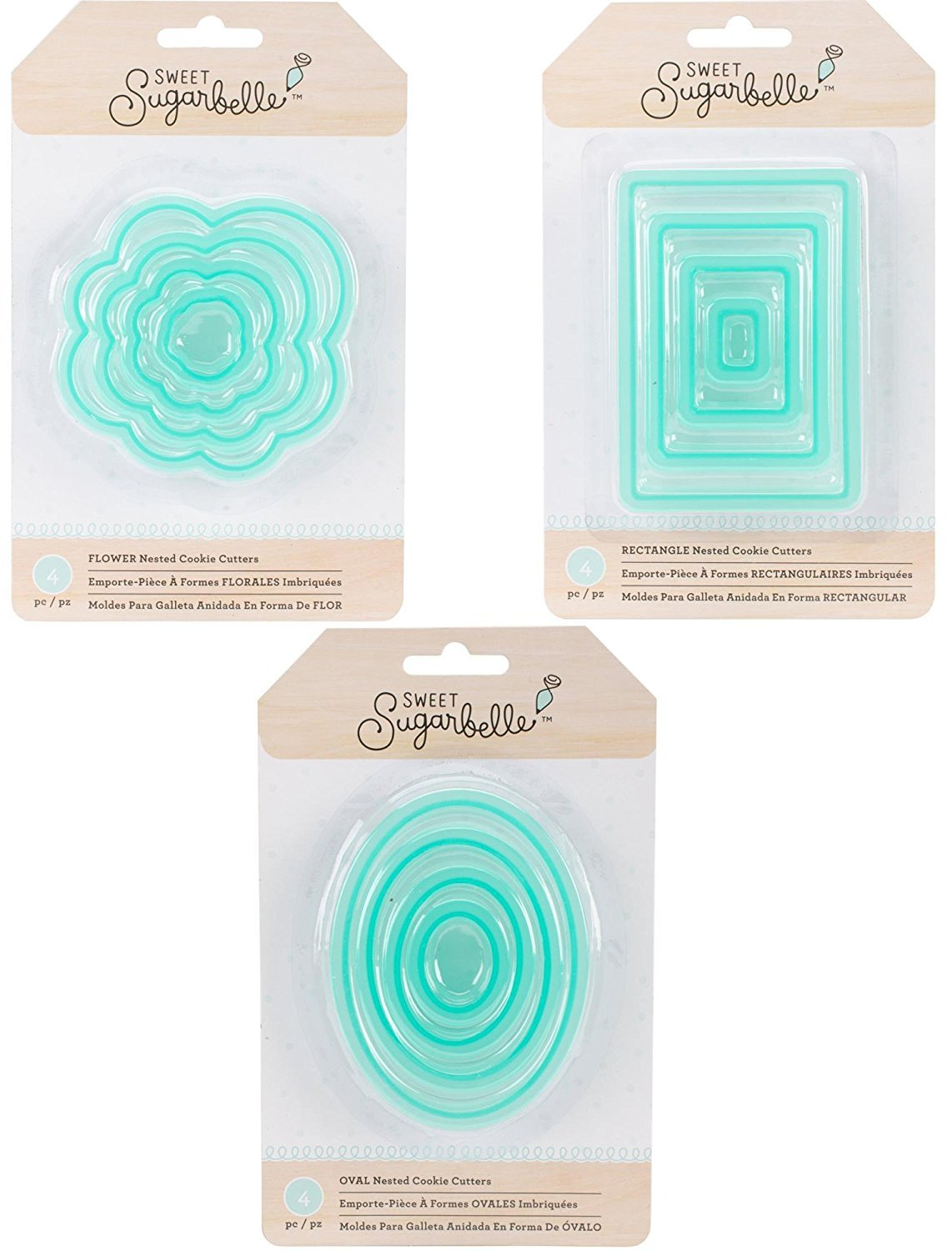 Amazon.com: Sweet Sugarbelle - Nested Cookie Cutter Sets - Flower, Rectangle & Oval - 12 Cutters Bundle: Kitchen & Dining