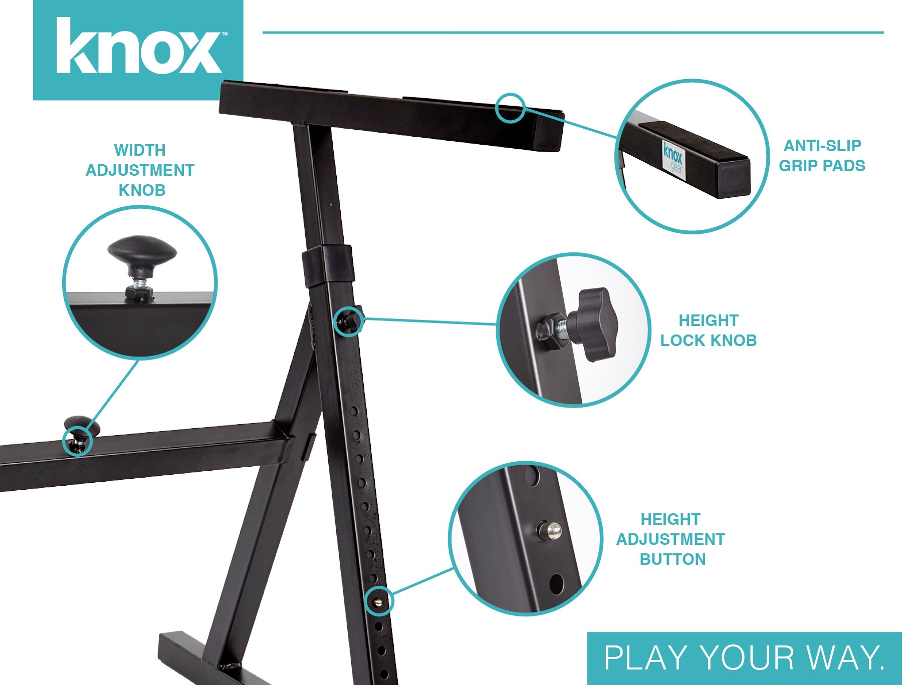 Knox Gear Z Style Heavy Duty Adjustable Piano Keyboard Stand by Knox (Image #4)
